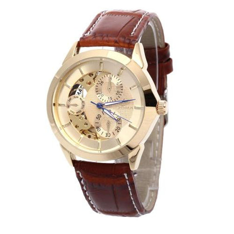 Mens Military Automatic Mechanical Wristwatch Leather Band Skeleton Dial Sport