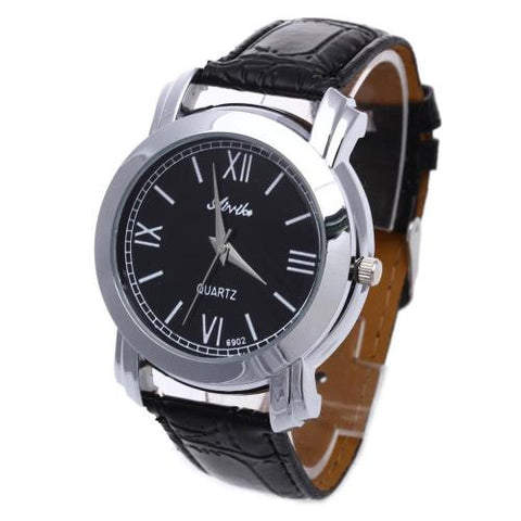 Men Quartz Wristwatch Black Leather Band White Roman Numerals Mark Analog