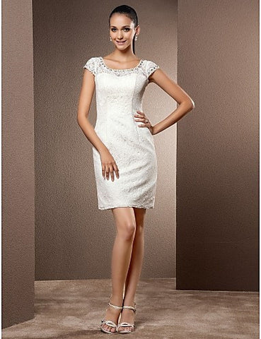 Wedding Dress Sheath Column Short Mini Lace Scoop Little White Dress With Pearl Detailing and Beading