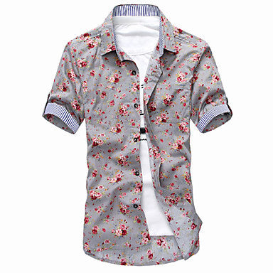 Men's Floral Print Short Sleeve Shirt(1)