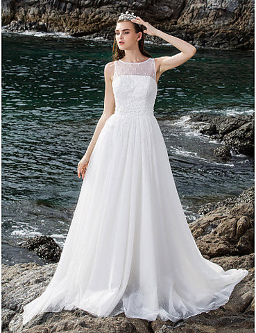 Ball Gown Scoop Floor-length Tulle Wedding Dress (682824)