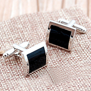 Modish French Square Silver Stoving Varnish Men's Cufflinks(Black,1 Pair)