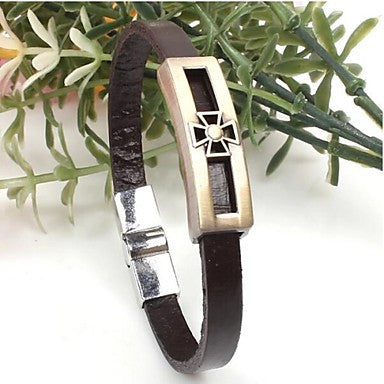 Men's Alloy Cross Bracelets With Stainless Steel Charm Design Bangles 1PC