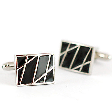 Modish French Rectangular Silver Plated Men's Cufflinks(Black,1 Pair)