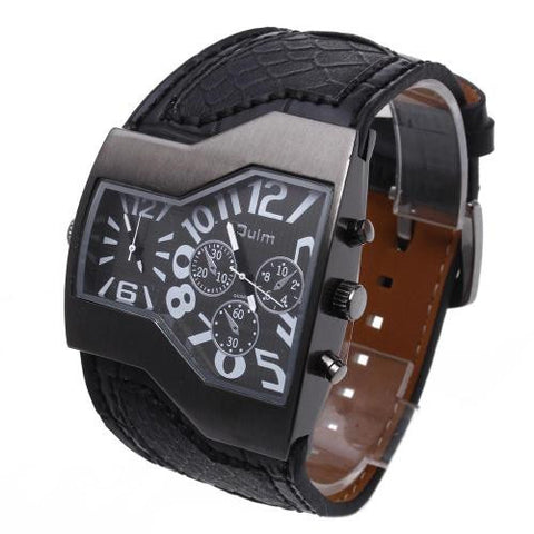 Men Quartz Wristwatch Black Leather Band Dual Time Arabic Numerals Army Fashion
