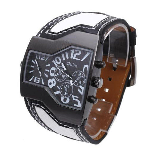 Men Quartz Wristwatch White Leather Band Dual Time Arabic Numerals Army Fashion
