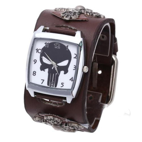Men Quartz Wristwatch Brown Leather Band Rivet Skull Cross Arabic Numeral Retro
