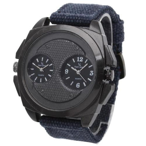Mens Army Military Quartz Wrist Watch Dark Blue Canvas Band Dual Time Dial