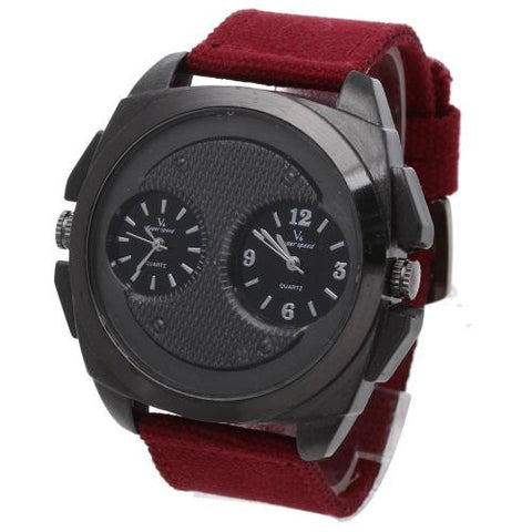 Mens Army Military Quartz Wrist Watch Red Canvas Band Dual Time Dial