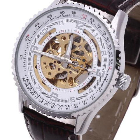 Classic Men's Leather Auto Mechanical Wrist Watch Gold Skeleton Dial Sport Army