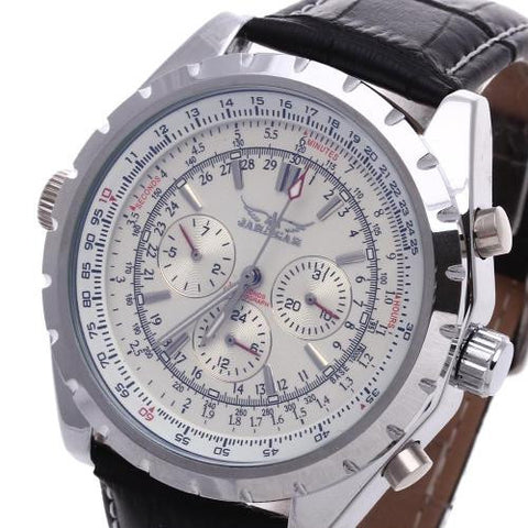 Men's Leather Automatic Mechanical Wrist Watch Personalized Gear Sport Calendar