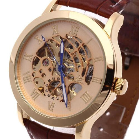 Men's Leather Automatic Mechanical Wrist Watch Personalized Skeleton Business