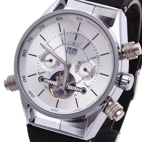 Men Automatic Mechanical Wrist Watch Silicone Band Skeleton Dial Calendar Sports