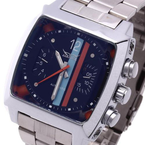 Men Automatic Mechanical Wrist Watch Steel Band Rectangle Dial Calendar Sports
