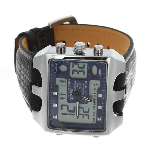 Men Wrist Watch Timer Alarm Dual Quartz Movement Sport Rectangle Dial