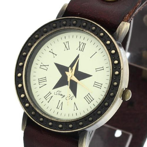 Unisex Quartz Wrist Watch Coffee Leather Band Roman Numeral Retro Rivets Star