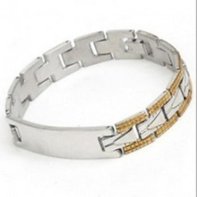 Men's Fashion Personality Titanium Steel Gold Splicing Glaze Bracelets