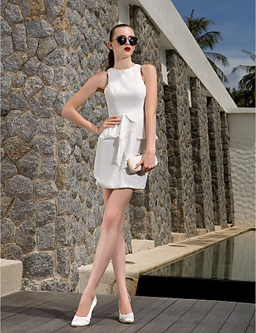 A-line Jewel Short/Mini Chiffon Wedding Dress (783870)