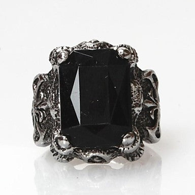 Vintage Punk Silver Alloy Black Stone Men's Statement Ring