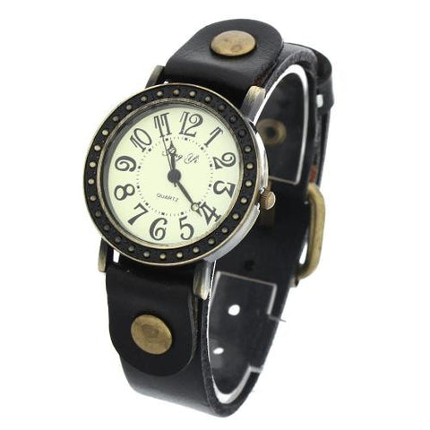 Unisex Quartz Wrist Watch Black Leather Band Arabic Numerals Retro Rivets