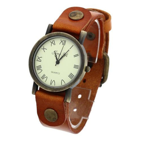 Unisex Quartz Wrist Watch Yellow Leather Band Roman Numeral Punk Rivet Retro