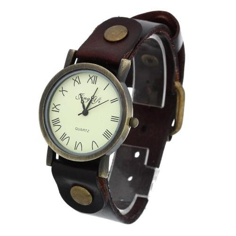 Unisex Quartz Wrist Watch Coffee Leather Band Roman Numeral Punk Rivet Retro