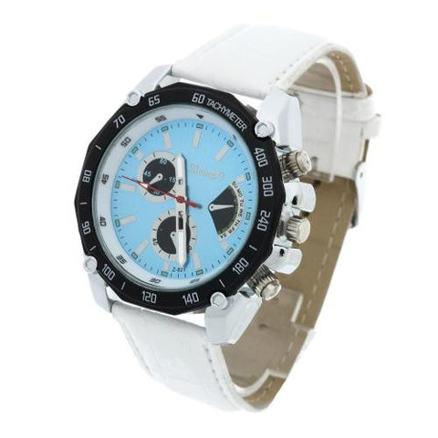 Men Quartz Movement Wrist Watch White Leather Band Blue Dial Analog Fashion