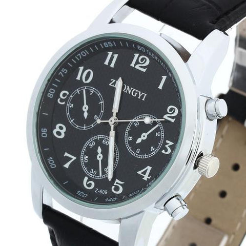 Men Quartz Movement Wrist Watch Black Leather Band Arabic Numeral Analog Fashion