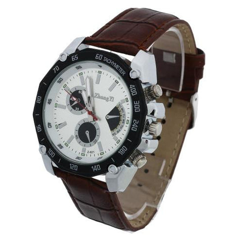 Men Quartz Movement Wrist Watch Brown Leather Band Arabic Numeral Analog Outdoor