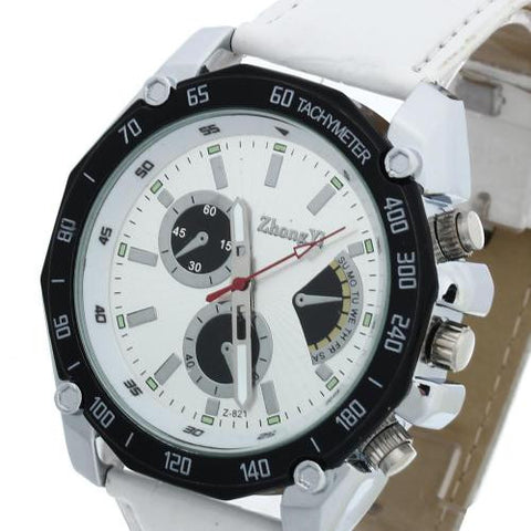 Men Quartz Wrist Watch White Leather Band Silvery Marks Arabic Numerals Analog