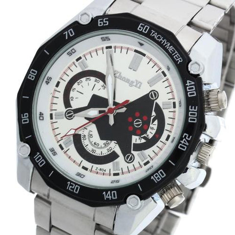 Men Quartz Movement Wrist Watch Silver Steel Band Arabic Numeral Marks Analog
