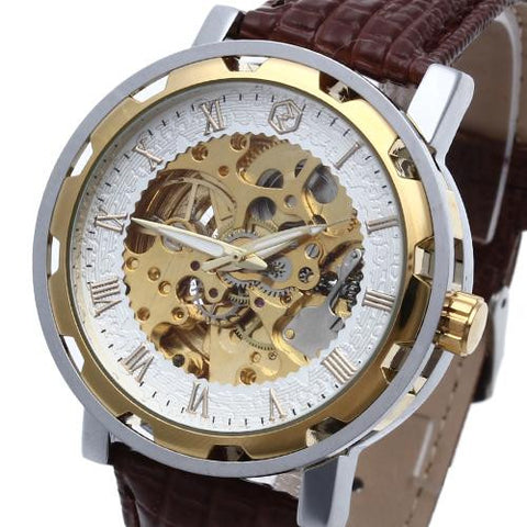 Men's Classic Automatic Mechanical Skeleton Genuine Leather Wrist Watch Coffee