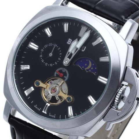 Men's Classic Automatic Mechanical Skeleton Wrist Watch Black Leather Band Hot