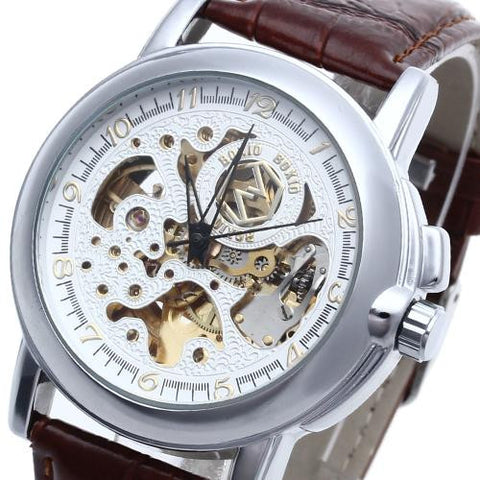 Men's Classic Automatic Mechanical Skeleton Wrist Watch Brown Leather Band Hot