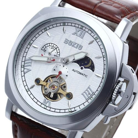 Men's Classic Automatic Mechanical Skeleton Luminous Wrist Watch Brown Fashion