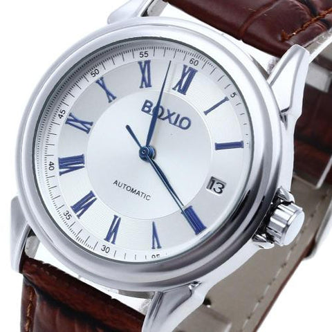 Men Automatic Mechanical Wrist Watch Brown Leather Band Calendar Sports