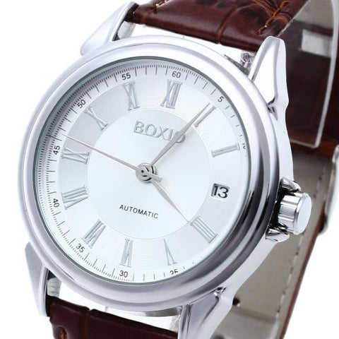 Men Automatic Mechanical Wrist Watch Brown Leather Silver Mark Calendar Sports