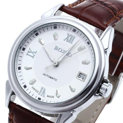 Men Brown Leather Automatic Mechanical Wrist Watch Luminous Hand Calendar Sport