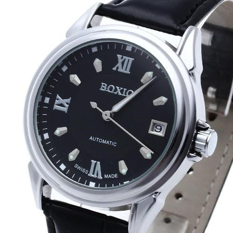 Men Black Leather Automatic Mechanical Wrist Watch Luminous Hand Calendar Sport