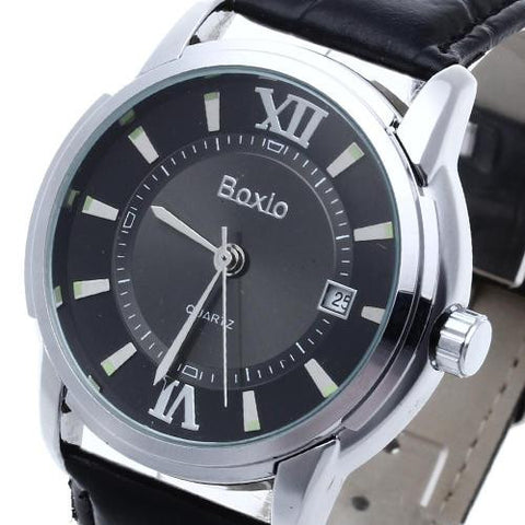 Men Black Leather Automatic Mechanical Wrist Watch Silver Bezel Calendar Sport
