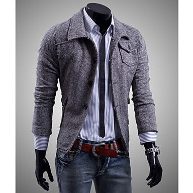 Men's Buckle Slim Stand Collar Coat