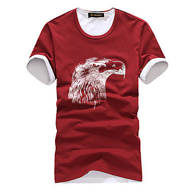 Men's Round Collar Eagle Head Style T-shirt