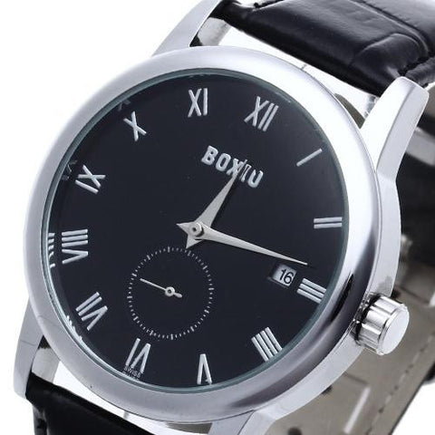 Men's Leather Automatic Mechanical Watch Black Dial Calendar Sport Casual