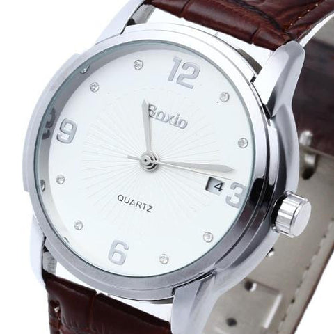 Men's Leather Automatic Mechanical Watch Crystal Mark White Dial Calendar Sport