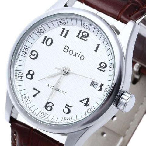 Men's Leather Automatic Mechanical Wrist Watch White Dial Calendar Sport Casual