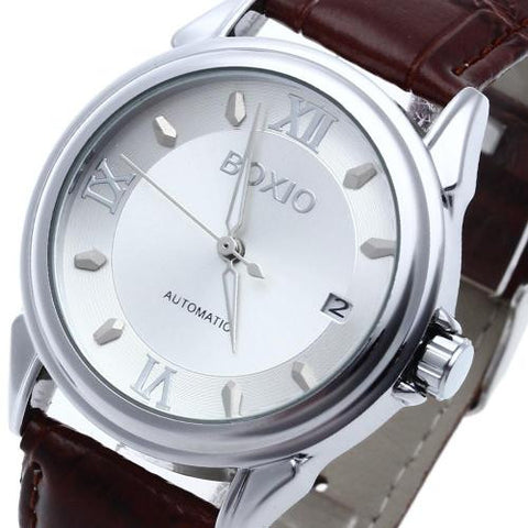Mens Leather Automatic Mechanical Wrist Watch White Dial Calendar Sport Casual