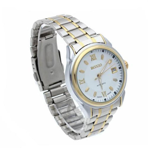 Men Automatic Mechanical Wrist Watch Steel Band Calendar White Dial Classic Hot