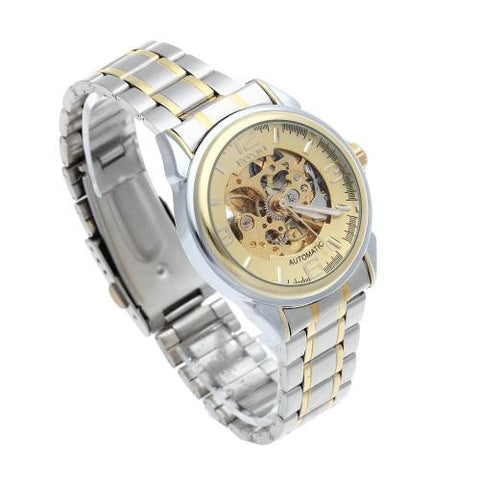 Men Automatic Mechanical Wrist Watch Steel Band Skeleton Gold Dial Sport Army