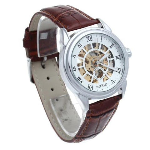 Men's Brown Leather Skeleton Mechanical Wrist Watch Sport Army Classic Analog