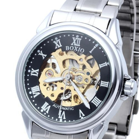 Men Automatic Mechanical Wrist Watch Steel Strap Skeleton Sport Army Classic
